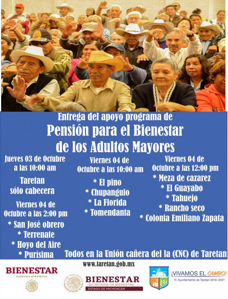 Entrega del apoyo programa de Pensión para el Bienestar de los Adultos Mayores