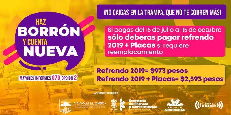 Haz Borrón y Cuenta Nueva Rentas Taretan 2019