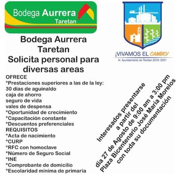 Oportunidad de empleo Aurrera Taretan