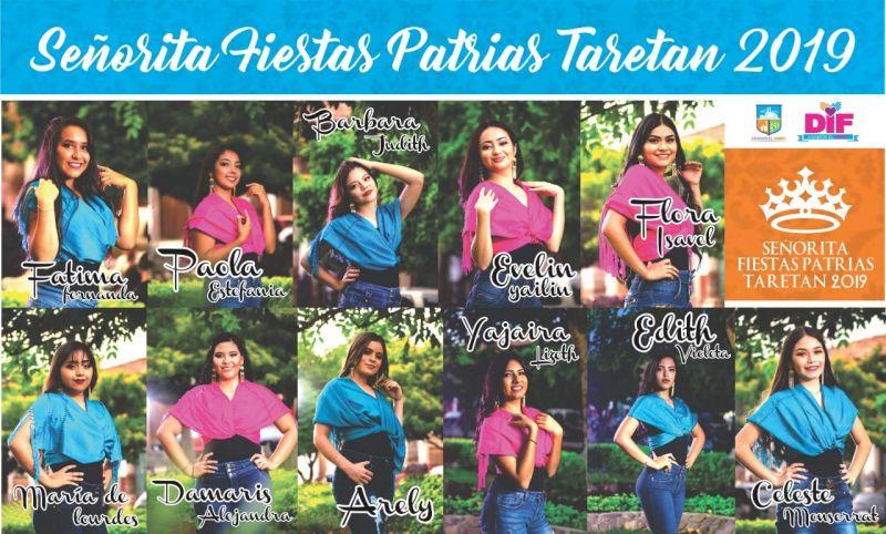 Elección y coronación de señorita Fiestas Patrias Taretan 2019.