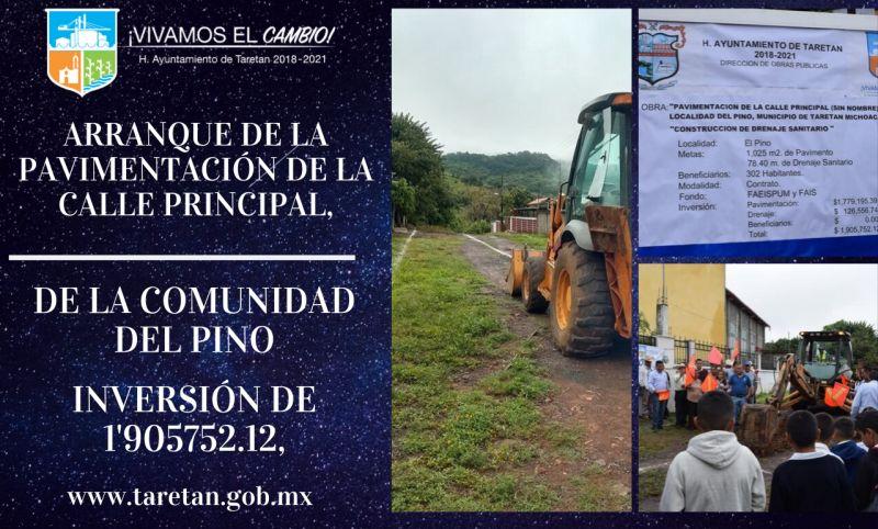 Arranque de  la pavimentación de la calle principal, de la comunidad del Pino