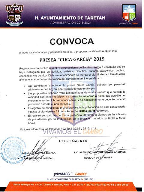 """CONVOCATORIA para obtener la Presea """"Cuca García 2019"""""""