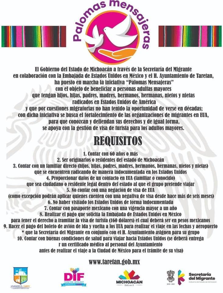 Requisitos para acceder al programa Palomas Mensajeras Taretan 2019