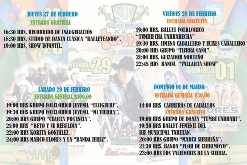 Programa completo que tendremos en la Expo Feria de la Caña Taretan 2020