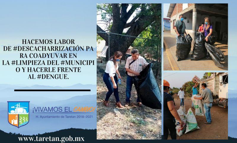 #descacharrización para coadyuvar en la #Limpieza del #municipio y hacerle frente al #dengue.